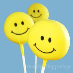 Smiley face cake pops idea. Made from oreo cakesters and yellow candy melts.