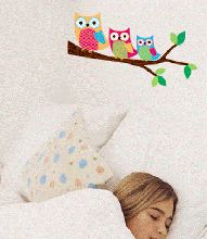 You will have a hooting good time decorating your little ones bedroom in these adorable perched owls  Details: Largest Owl is 16cm x 16cm Tree Branch is 52cm long  These wonderful removable wall decal from Forwalls are sure to delight your little princess.  If you're looking for removable wall stickers with a difference, then look no further than these delightful decals that will be sure to impress. These wonderful decals will brighten up that boring wall adding character, style and warmth.