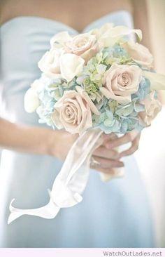 Pale blue hydrangea and rose bouquet