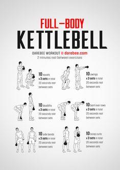 Full Body Kettlebell Workout, Kettlebell Workouts For Women, Full Body Workout Routine, Kettlebell Training, Weight Training Workouts, Full Body Workout At Home, Beginner Full Body Workout, Kickboxing Workout, Workout Routines For Men