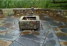 stone patio with fire pit | flagstone patio with fire pit