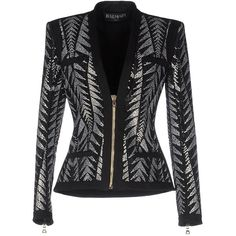 Balmain Blazer ($1,552) ❤ liked on Polyvore featuring outerwear, jackets, blazers, black, pattern jacket, balmain jacket, balmain blazer, long sleeve blazer and two tone jacket