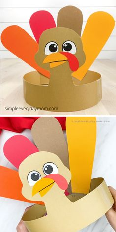 This turkey had been craft is a fun Thanksgiving activity for kids. Download the free printable template and make a craft version or print it on white paper for the kids to color in. It's a fun idea for the kids Thanksgiving table.