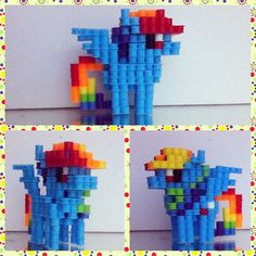 3D MLP Rainbow Dash perler beads by voxelperlers