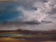Storm Clouds Marshes Painting Summer Landscape Stormy by earthluv, $700.00