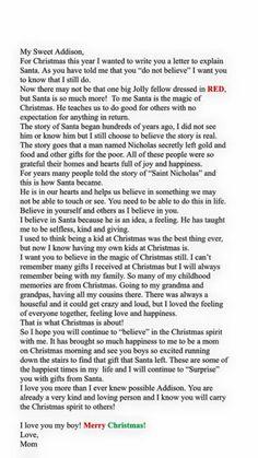 Believe in Santa letter to my son Christmas Letters, Christmas Eve Box, All Things Christmas, Christmas Holidays, Christmas Crafts, Letter Explaining Santa, Santa Letter, Love My Kids, Family Love