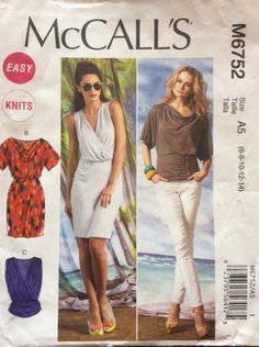 Dress and top with draped or cross over bodice McCalls 6752 Uncut sewing pattern Sizes 6 8 10 12 & 14 Waist 23 - 28 Retro boho jersey knits by 101VintagePatterns on Etsy