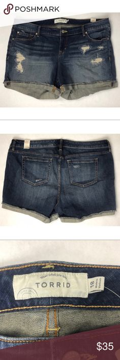 NEW Torrid Destructed Wavebreak Denim Jean Shorts NWT Torrid 5 inch shorts in Wavebreak Destructed wash. medium wash with distressing on both sides and frayed hems that can cuff. Product description Our White Label denim is casual American style - designed and fit just for you. It's authentic, lived-in fashion that's fun and sexy. Wear what you love. These jean shorts tell a story. In a hand sanded medium wash with repaired rips, these shorts have frayed edges and subtle destruction for…