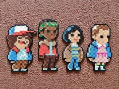 I did these Stranger Things in Perler form based off of pixels for a non-existent video game created by Johan Vinet. Perler Bead Designs, Perler Bead Templates, Hama Beads Design, Diy Perler Beads, Perler Bead Art, Melty Bead Patterns, Pearler Bead Patterns, Perler Patterns, Stranger Things
