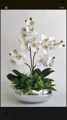 Orchid Flower Arrangements, Artificial Floral Arrangements, Church Flower Arrangements, Beautiful Flower Arrangements, Artificial Flowers, Flower Vases, Beautiful Flowers, Decoration Plante, House Plants Decor
