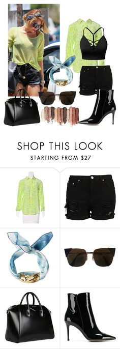 """Miley Cyrus~ Street Style"" by rama-mahadik ❤ liked on Polyvore featuring Equipment, J.TOMSON, Cornelia Webb, Fendi, Givenchy, Gianvito Rossi and tarte"