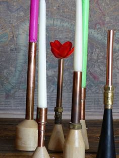 funky candles and vases copper pipes made on money for nothing television show, designer by forge creative Recycled Furniture, Vintage Furniture, Copper Pipes, Money For Nothing, Unwanted Furniture, Dry Flowers, Wood Turning Projects, Woodturning, Bbc