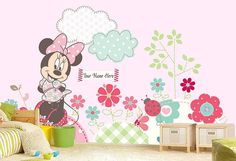 Minnie Mouse Wall mural Wallpaper Wall décor Wall decal by KIINOO