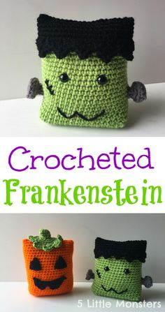 Pattern looks like pillows, but they'd make cute trick or treat bags modified a little AND add a handle! 5 Little Monsters: Frankenstein Crochet Fall, Holiday Crochet, Cute Crochet, Easy Crochet, Crochet Toys, Knit Crochet, Crochet Things, Crochet Animals, Frankenstein