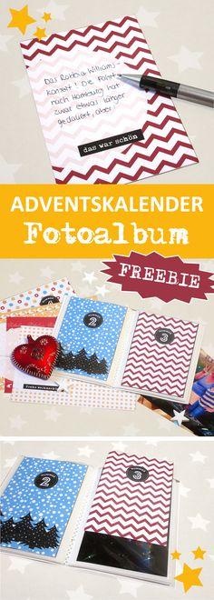 Adventskalender als Fotoalbum und schöner Rückblick aufs Jahr - mit Freebies zum Runterladen und schnell selber basteln! #adventskalender #freebies #printable
