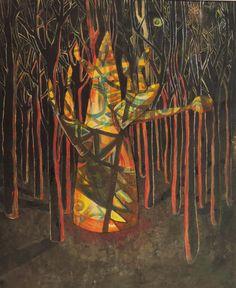 Miguel Curani. Artista plástico: Bosquecito magicooleo50 x 60