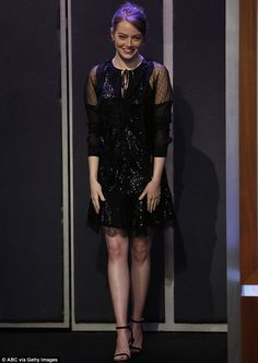 True beauty:The La La Land actor looked ravishing in true-to-Hollywood glam as she laughed it up over long-standing jokes on ABC's late night talk show