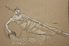 """Ocean Source"", sketch in charcoal and conte on cardboard.  Sarah Myers"
