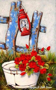 Art by Stella Bruwer white enamel tub on grass blue fence red lantern Art Floral, Decoupage Vintage, Diy Canvas, Canvas Art, Stella Art, Art Fantaisiste, Acrylic Painting For Beginners, Paint And Sip, Country Art