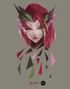 Polygon Zyra, Yuexin Du - League of Legends Lol League Of Legends, League Of Legends Support, League Of Legends Video, League Of Legends Characters, Legend Drawing, Liga Legend, Moba Legends, Pop Culture Art, Illustrations And Posters