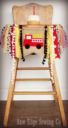 FIREFIGHTER Fire Truck Birthday Age High Chair by RawEdgeSewingCo