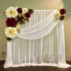 Room curtain design - - You are in the right place about Decoration lights Paper Flower Backdrop Wedding, Paper Flower Decor, Paper Flowers, Diy Flowers, Gold Backdrop, Reception Backdrop, Wedding Stage Decorations, Backdrop Decorations, Decoration Evenementielle