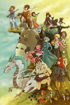 Aqui estan todos los personajes de las peliculas del Estudio Ghibi