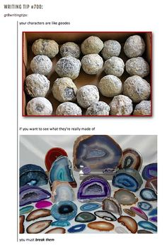 Writing prompt: write a character based on some of the geodes shown below.