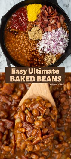 Ultimate Baked Beans Make canned beans even better with this AWESOME recipe! Easy Ultimate Baked Beans that the whole family will love.Make canned beans even better with this AWESOME recipe! Easy Ultimate Baked Beans that the whole family will love. Crock Pot Recipes, Baked Bean Recipes, Side Dish Recipes, Cooker Recipes, Healthy Recipes, Baked Beans Recipe Easy Quick, Recipes With Baked Beans, Crockpot Summer Recipes, Bbq Recipes Sides