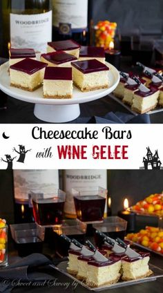 Cheesecake Bars with Wine Gelée - Dan 330 http://livedan330.com/2015/10/09/cheesecake-bars-wine-gelee/