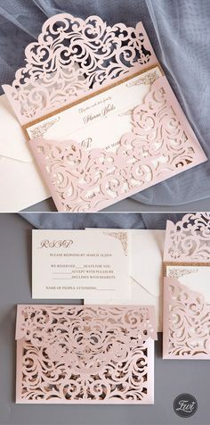 chic blush laser cut wedding invitation with rose gold glitter backer rose gold wedding 10 Popular Laser Cut Glitter Wedding Invitations from Elegant Wedding Invites Laser Cut Wedding Invitations, Wedding Invitation Cards, Wedding Cards, Diy Wedding, Dream Wedding, Wedding Ideas, Gown Wedding, Wedding Rings, Lace Wedding