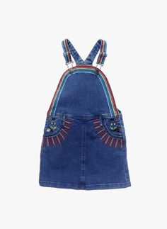 Stella McCartney Kids Sunflower Girls Rainbow Embroidered Denim Dress *Pre-Order item estimated delivery by 3/15