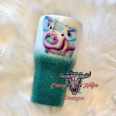 #tumbler #crazyheiferdesigns #swine #pig #turquoise #custom #rtic #yooying Diy Tumblers, Custom Tumblers, Glitter Tumblers, Cup Crafts, Crafts To Do, Tumblr Cup, Custom Yeti, Custom Cups, Yeti Cup