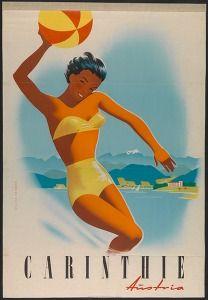Kärnten, Austria , Österreich  Vintage travel poster