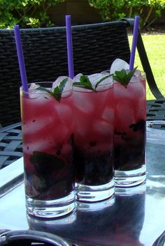 Blueberry & Lavender Mojito  15 mint leaves  1 ½ shots of lavender syrup  1 shot of fresh lime juice  20 fresh blueberries  1 ½ shots of rum Santa Teresa Claro  Club soda  Mint sprig to garnish    In a tall glass muddle ―being careful not to over-muddle―, all the ingredients but the soda. Fill the glass with crushed ice, top of with soda and stir until you get a purple lavender color in your glass. Garnish with a sprig of fresh mint and serve with a straw.