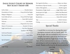 eagle scout court of honor program with Eagle in background. Looks like you would have to have an editing program where you could change the opaqueness with a gradient on the background image. Boy Scouts Merit Badges, Boy Scout Troop, Cub Scouts, Girl Scouts, Eagle Scout Ceremony, Proud Of My Son, Eagle Project, Scout Activities, Scout Camping