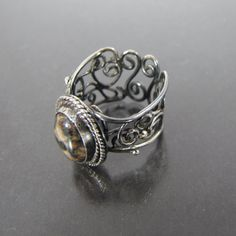 Sterling silvero xidized  filigree ring with by NKjewelrydesign, $70.00