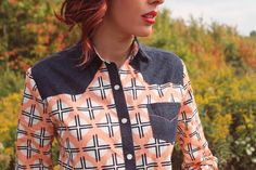 Archer shirt pattern with custom western yoke accents. Fabric by April Rhodes for Art Gallery Fabrics @artgalleryfab @aprilarhodes