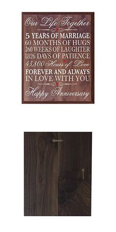 """5th Anniversary gifts decorations women men Couple, 5 year wedding Anniversary Gift for him Her husband, 12 W X 15"""" H Wall Plaque By Dayspring Milestones (walnut)"""
