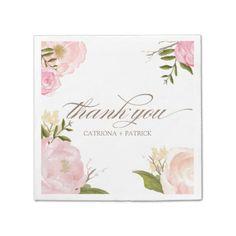 Romantic Watercolor Flowers Wedding Paper Napkin