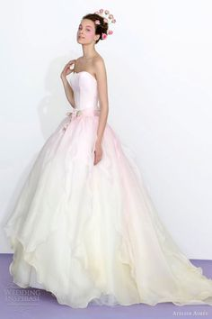 atelier aimee 2013 strapless ombre pink ivory wedding dress....  http://weddinginspirasi.com/2012/12/01/atelier-aimee-2013-color-wedding-dresses/
