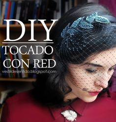 Vestir de Sentido: DIY: tocado con red - Headband with mesh veil