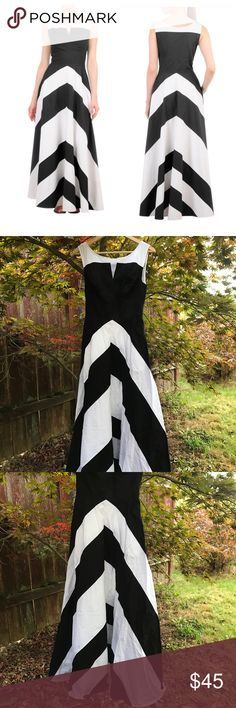 "Eshakti Chevron Dress Beautiful black and white chevron dress in excellent condition. Chest is 18"" across, waist is 13.5"" across, and length is 57"". This dress has pockets! eshakti Dresses Maxi"