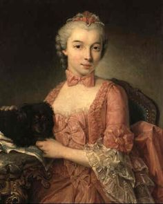 Portrait of a young noblewoman with her pet dog on a table beside her by Donat Nonotte