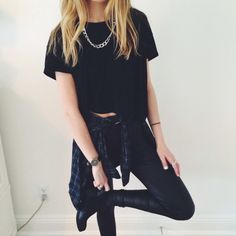 Ootd | hipster fashion. Teen fashion. Black boxy tee shirt Black jeans Black booties Dark blueflannel/check shirt