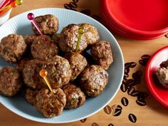Mini Meatballs : These meatballs are full of flavor and really moist. You could also double their size and serve them with spaghetti. To keep the meatballs light, don't overmix the ground beef and pork. via Food Network Healthy Ground Beef, Ground Beef Recipes, Food Network Recipes, Cooking Recipes, Kitchen Recipes, Cooking Time, Yummy Recipes, Recipies, Mini Meatballs