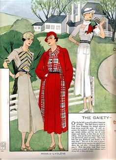 Fabulous vintage 1930s Fall Fashion Inspiration from Woman's Journal - May 1933 (love the red ensemble!). #vintage #1930s #fashion #illustrations