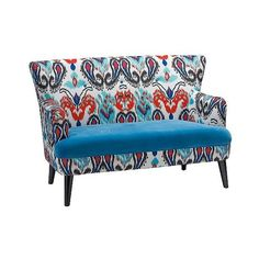 Lacey Paisley Ikat Loveseat with Blue Seat ($720) ❤ liked on Polyvore featuring home, furniture, sofas, blue, ikat sofa, woods furniture, blue furniture, blue loveseat and blue couch