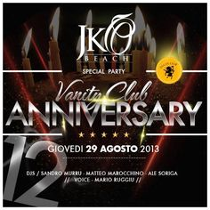 SPECIAL PARTY VANITY CLUB ANNIVERSARY – JKO BEACH – CAGLIARI – THURSDAY AUGUST 29
