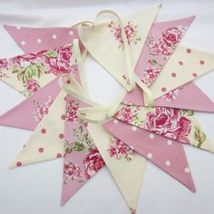Fabric Bunting shabby chic Cream and Pink by AllTheTrimmingsUK